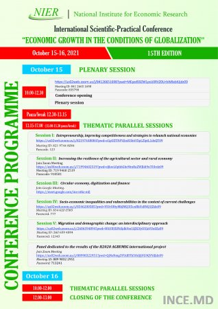 """Agenda and Programme of the International Scientific-Practical Conference """"Economic growth in the conditions of globalization"""", 15th edition, 15 - 16 October 2021"""